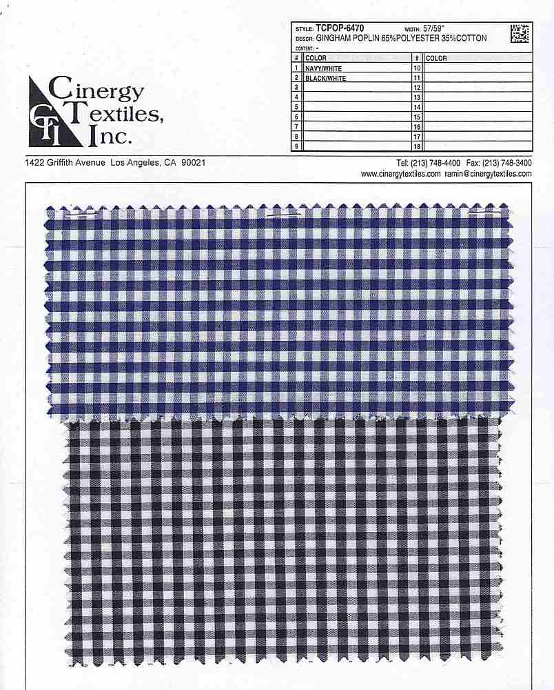 TCPOP-6470 / Gingham Poplin 65%Polyester 35%Cotton