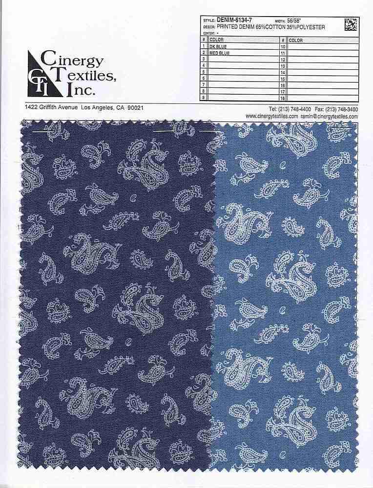 DENIM-6134-7 / Printed Denim 65%Cotton 35%Polyester