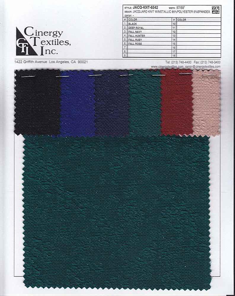 JACQ-KNT-6542 / Jacquard Knit W/Metallic 95%Polyester 5%Spandex