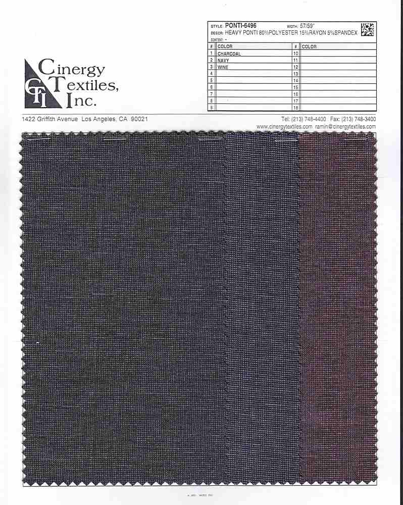 PONTI-6496 / Heavy Ponti 80%Polyester 15%Rayon 5%Spandex