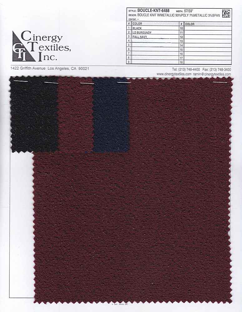 BOUCLE-KNT-6488 / Boucle Knit W/Metallic 90%Poly 7%Metallic 3%Span