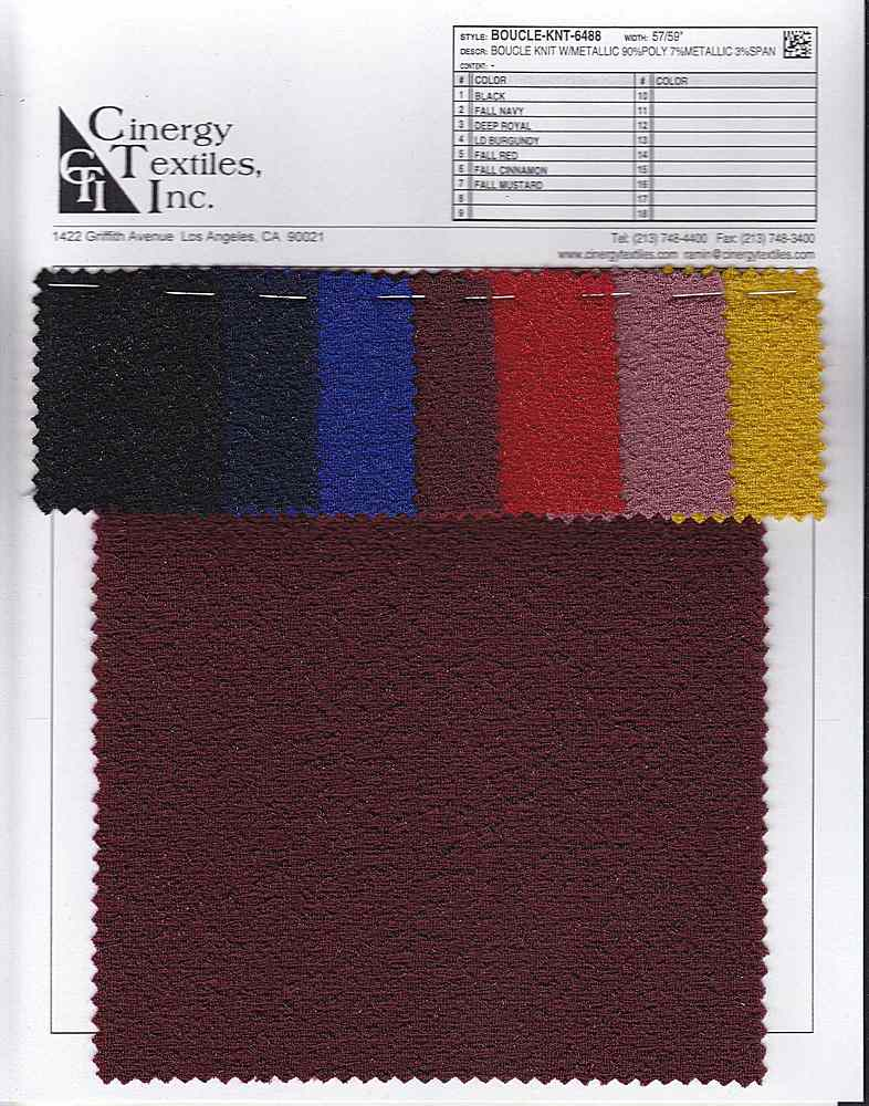 BOUCLE-KNT-6488 / Boucle Knit W/Metallic 90%Poly 7%Metallic 3%Span