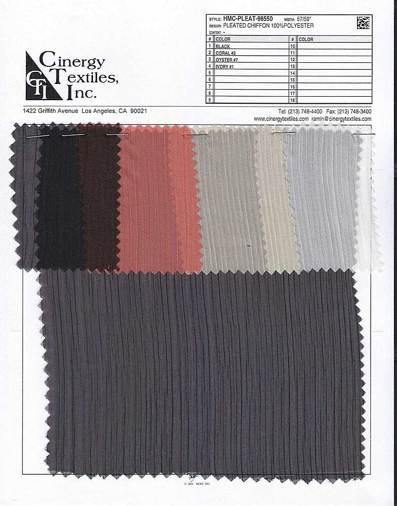 HMC-PLEAT-98550 / Pleated Chiffon 100%Polyester