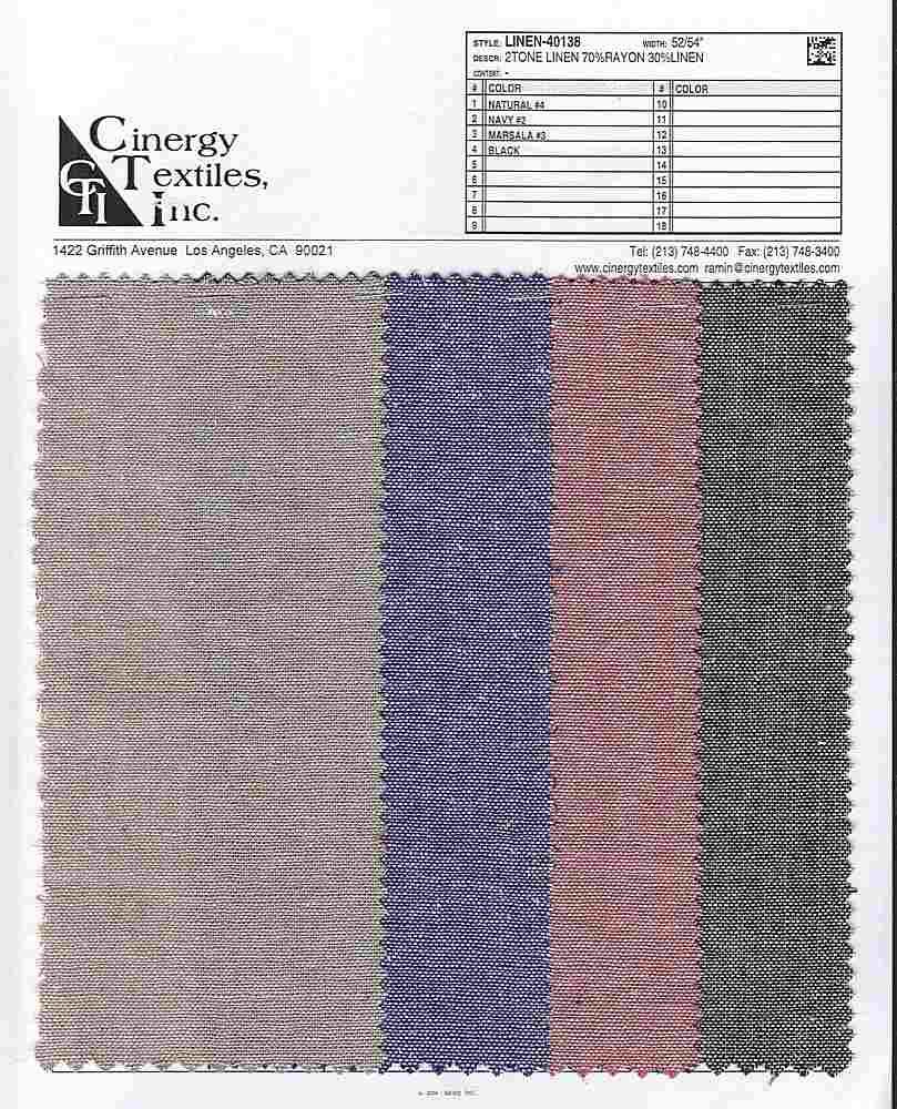 LINEN-40138 / 2Tone Linen 70%Rayon 30%Linen