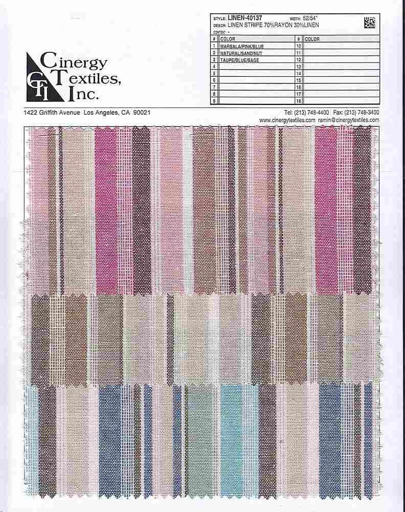 LINEN-40137 / Linen Stripe 70%Rayon 30%Linen
