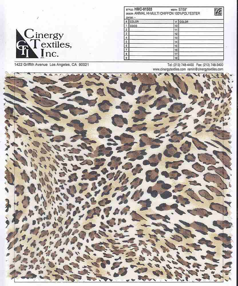 HMC-91503 / Animal Hi-Multi Chiffon 100%Polyester