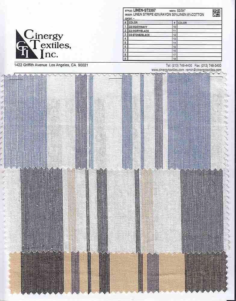 LINEN-ST3397 / Linen Stripe 62%Rayon 30%Linen 8%Cotton