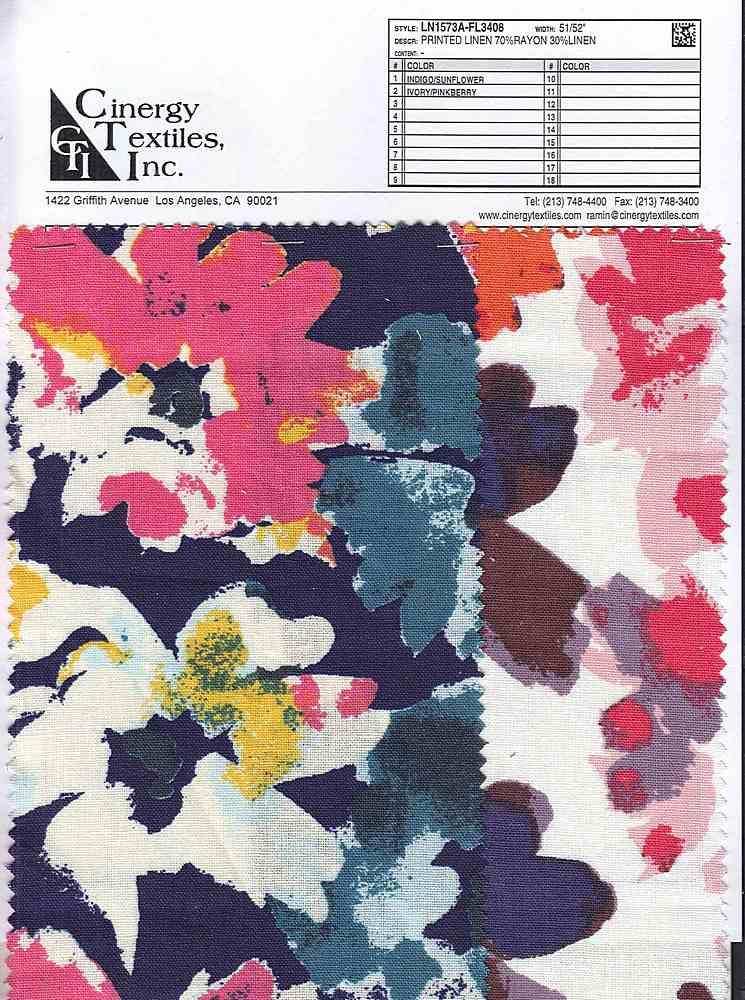 LN1573A-FL3408 / Printed Linen 70%Rayon 30%Linen