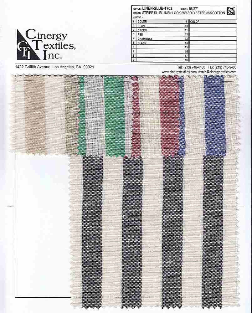 LINEN-SLUB-1702 / Stripe Slub Linen Look 65%Polyester 35%Cotton