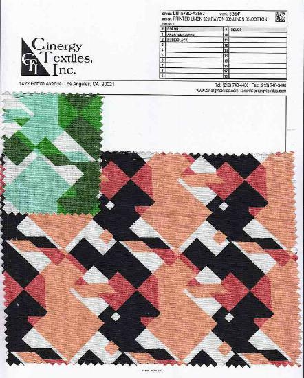 LN1573C-A3567 / Printed Linen 62%Rayon 30%Linen 8%Cotton