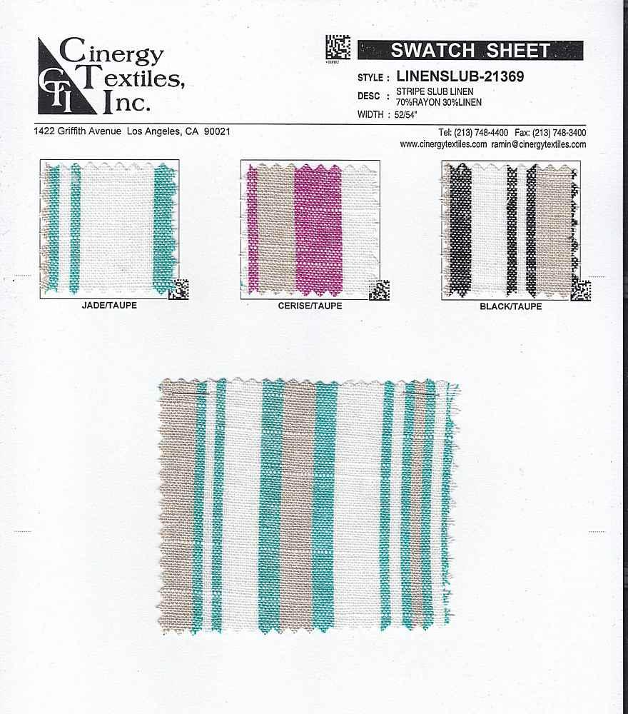 LINENSLUB-21369 / Stripe Slub Linen 70%Rayon 30%Linen