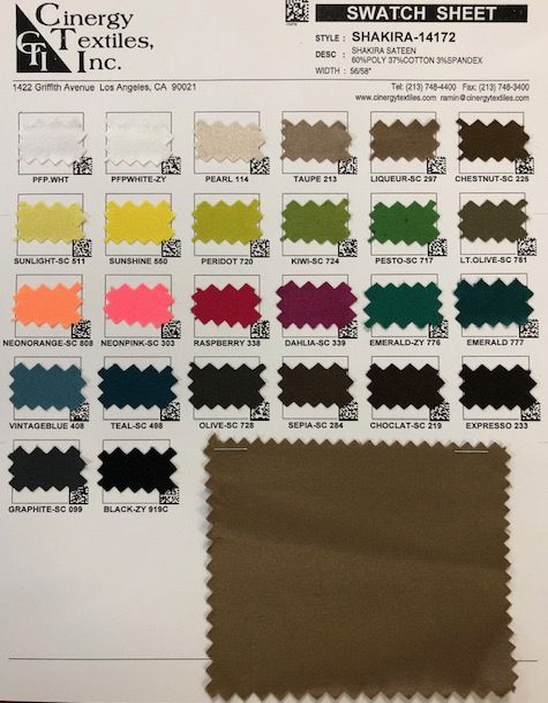 SHAKIRA-14172 / Shakira Sateen 60%Poly 37%Cotton 3%Spandex