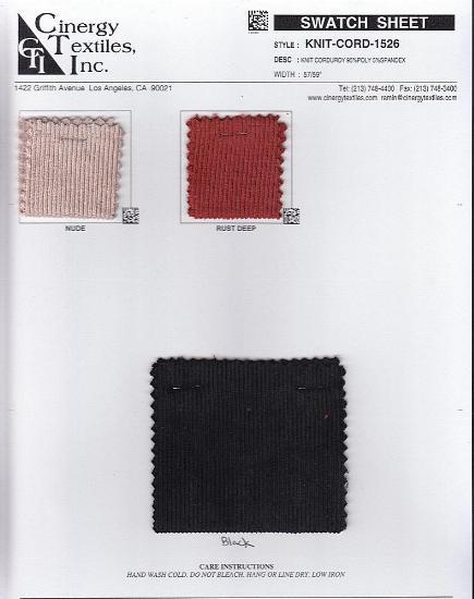 KNIT-CORD-1526 / KNIT CORDUROY 95%POLY 5%SPANDEX