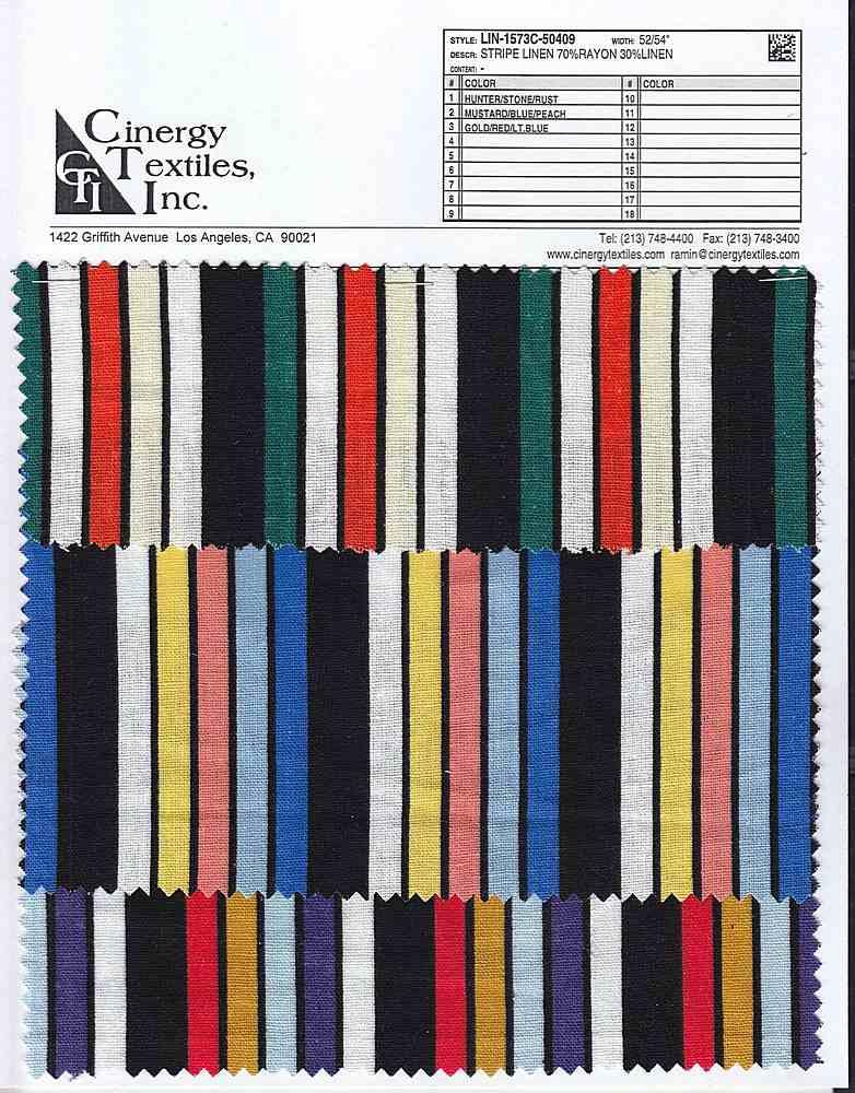 LIN-1573C-50409 / Stripe Linen 70%Rayon 30%Linen