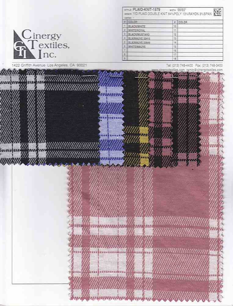 PLAID-KNIT-1579 / Y/D PLAID DOUBLE KNIT 84%POLY 13%RAYON 3%SPAN