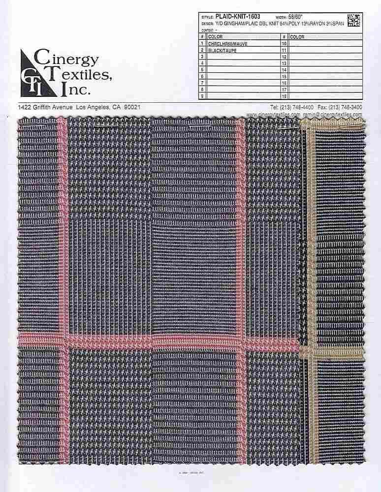 PLAID-KNIT-1603 / Y/D GINGHAM/PLAID DBL KNIT 84%POLY 13%RAYON 3%SPAN