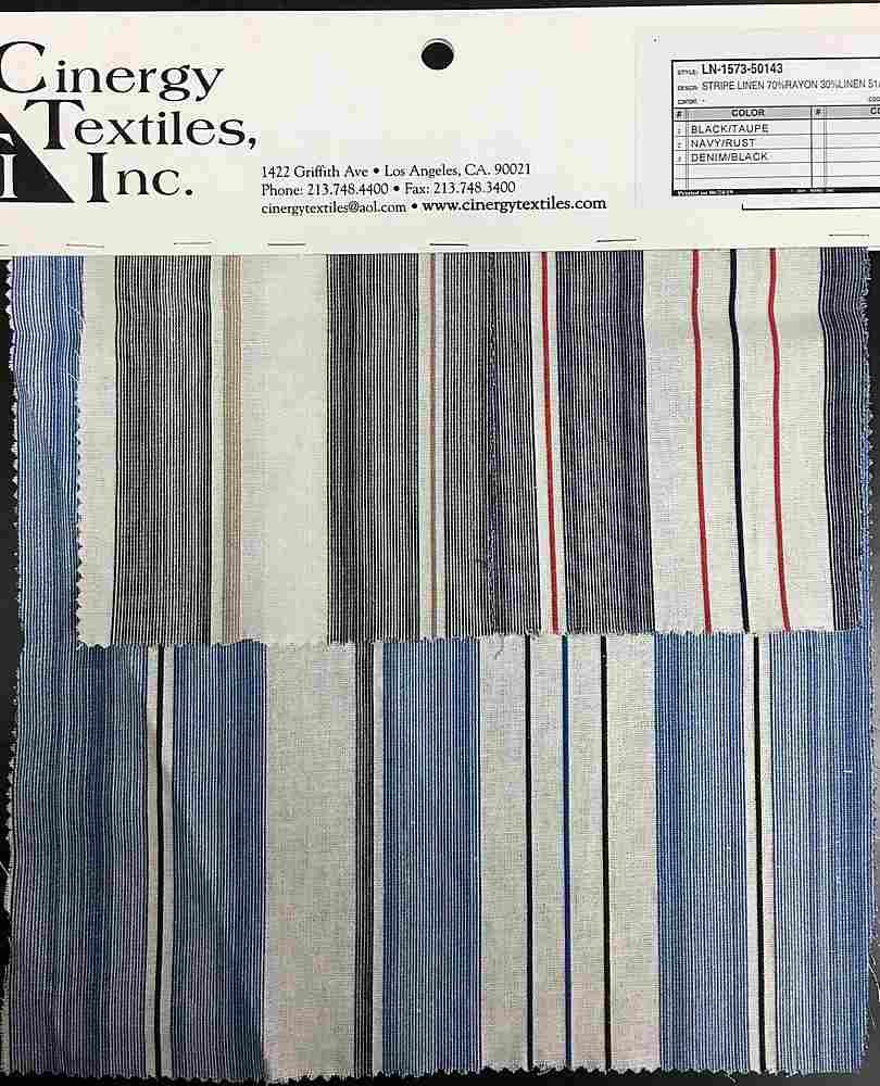 LN-1573-50143 / Stripe Linen 70%Rayon 30%Linen