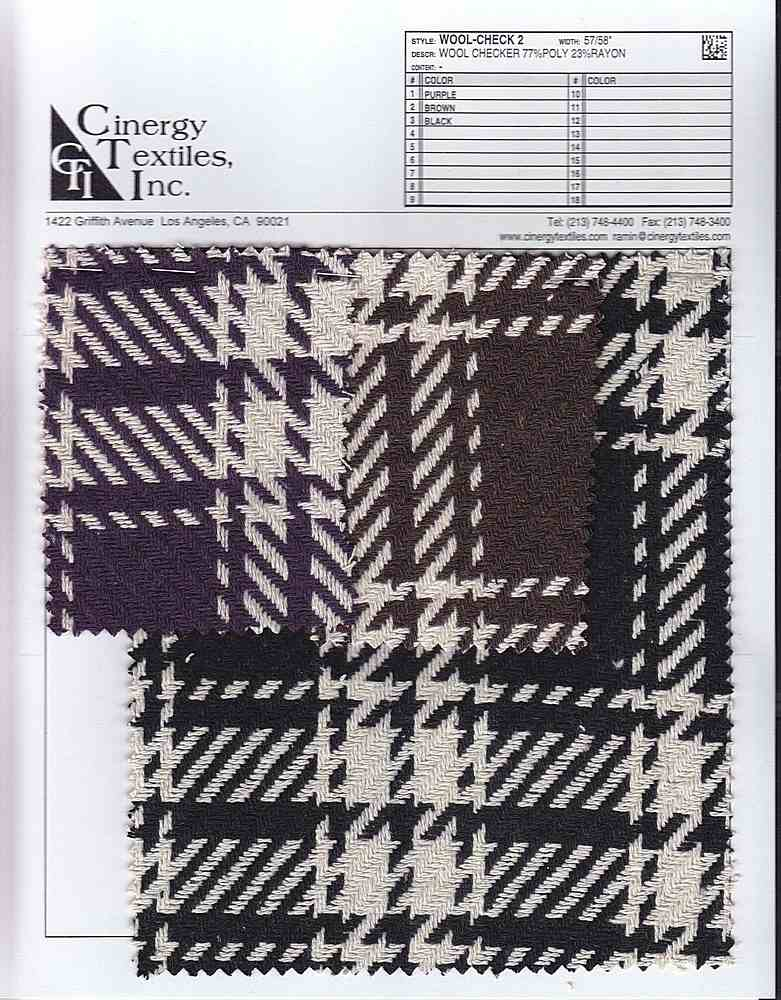 WOOL-CHECK 2 / WOOL LOOK CHECKER 77%POLY 23%RAYON