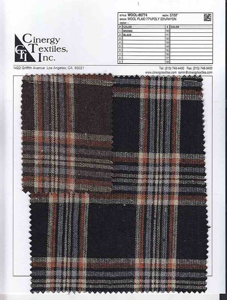 WOOL-80774 / WOOL LOOK PLAID 77%POLY 23%RAYON