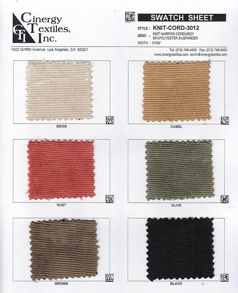 KNIT-CORD-3012 / Knit Narrow Corduroy 95%Polyester 5%Spandex