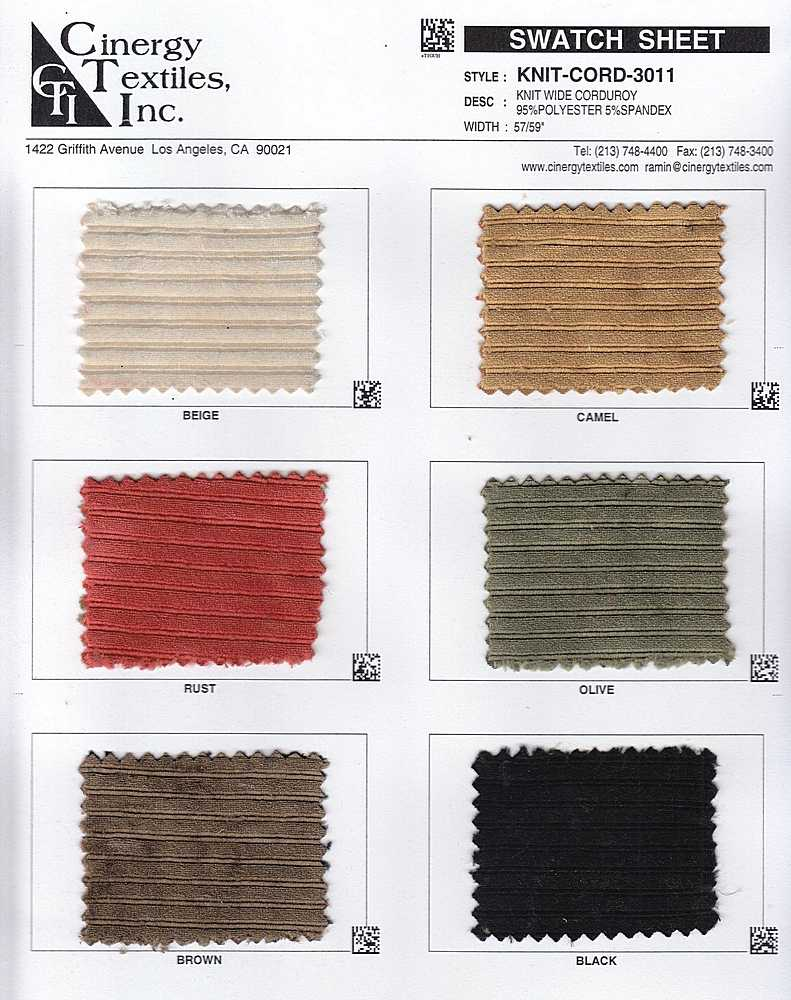 KNIT-CORD-3011 / Knit Wide Corduroy 95%Polyester 5%Spandex