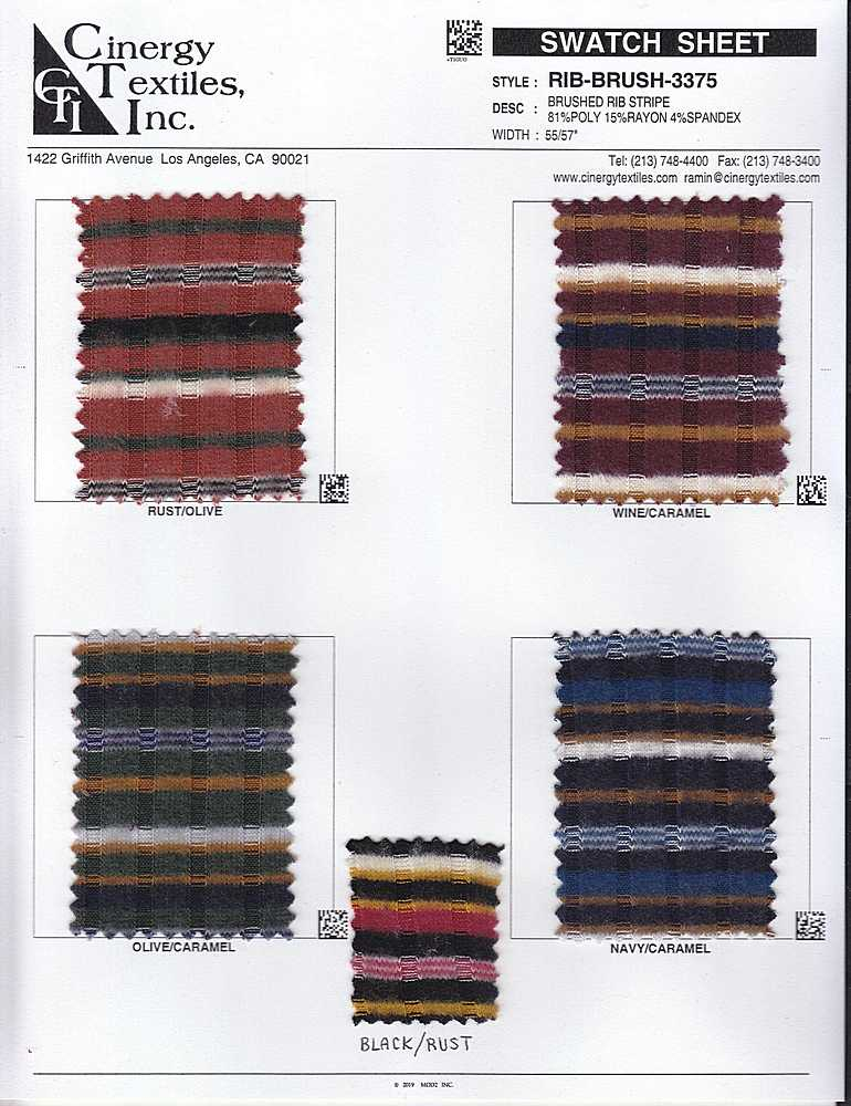 RIB-BRUSH-3375 / Brushed Rib Stripe 81%Poly 15%Rayon 4%Spandex