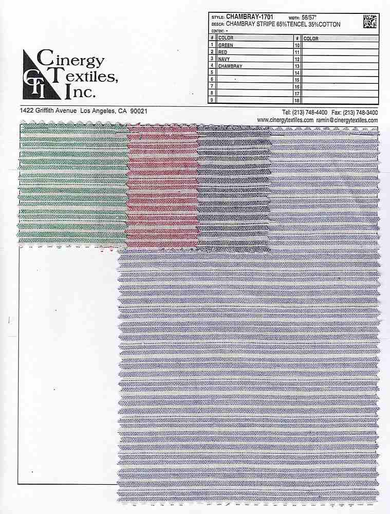 CHAMBRAY-1701 / Chambray Stripe 65%Tencel 35%Cotton
