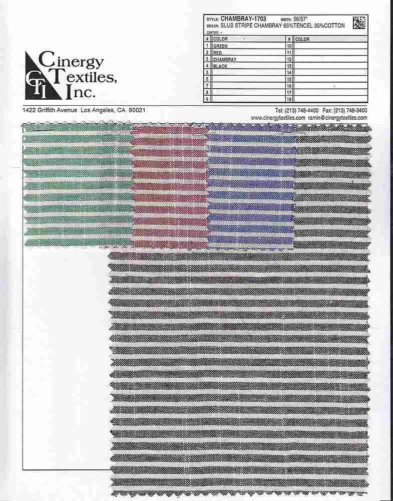 CHAMBRAY-1703 / Slub Stripe Chambray 65%Tencel 35%Cotton