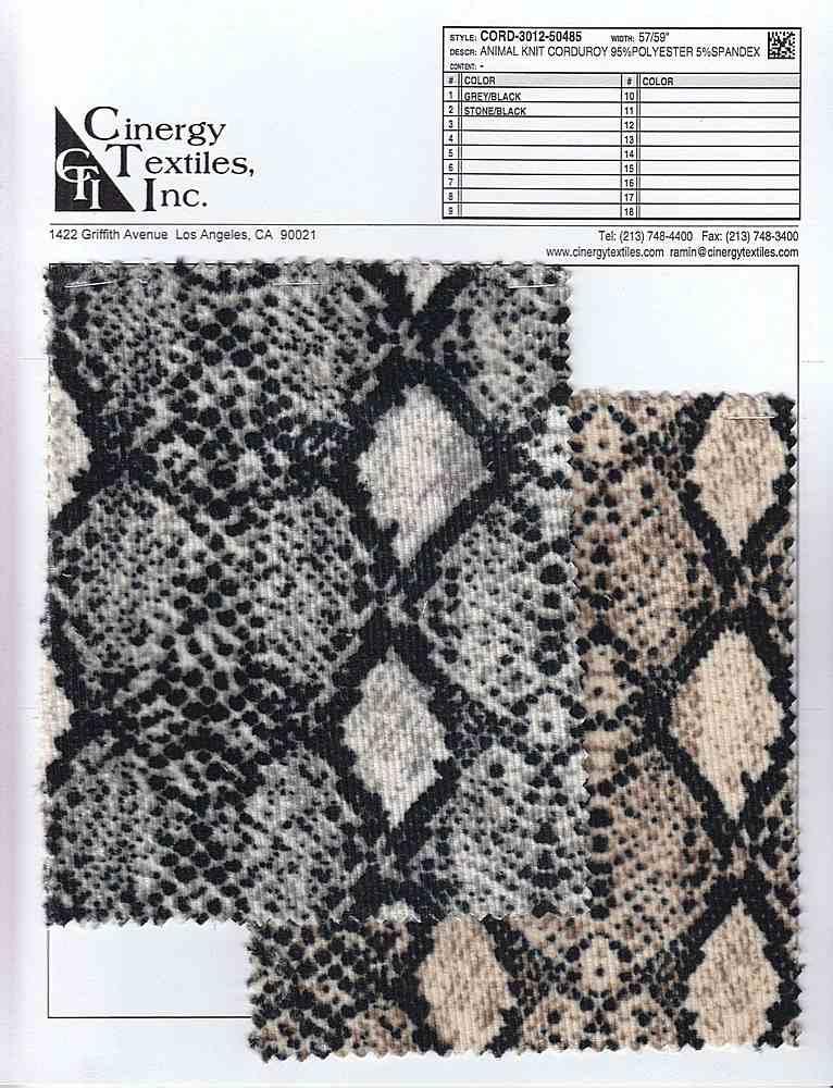 CORD-3012-50485 / Animal Knit Corduroy 95%Polyester 5%Spandex