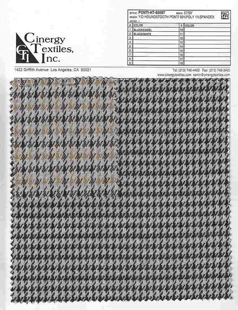 PONTI-HT-93007 / Y/D Houndstooth Ponti 99%Poly 1%Spandex