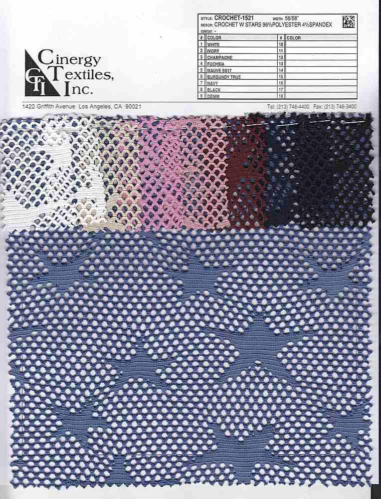CROCHET-1521 / Crochet W Stars 96%Polyester 4%Spandex