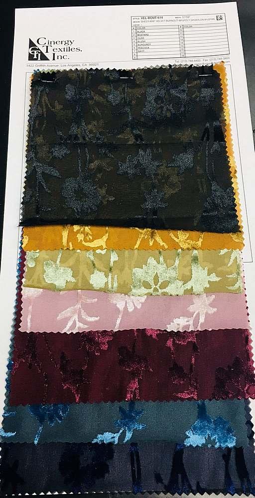 VEL-BOUT-614 / Sheer Knit Velvet Burnout 68%Poly 24%Nylon 8%Span