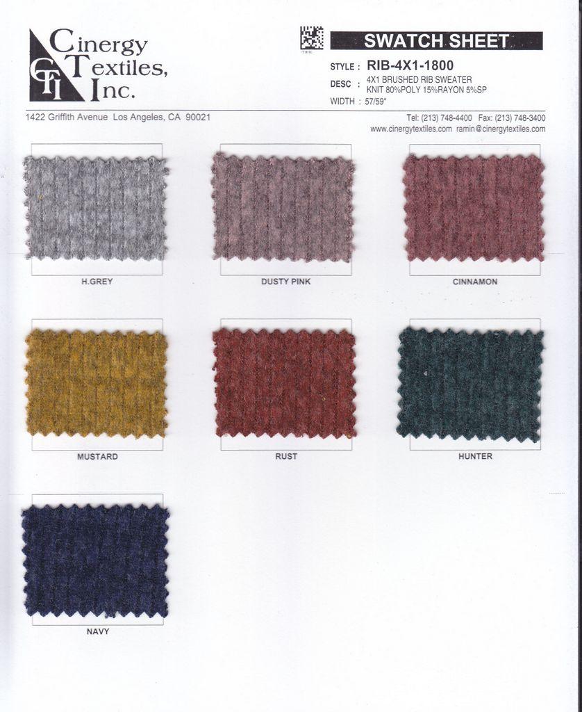 RIB-4X1-1800 / Brushed Rib Sweater Knit 80%Poly 15%Rayon 5%Spandex
