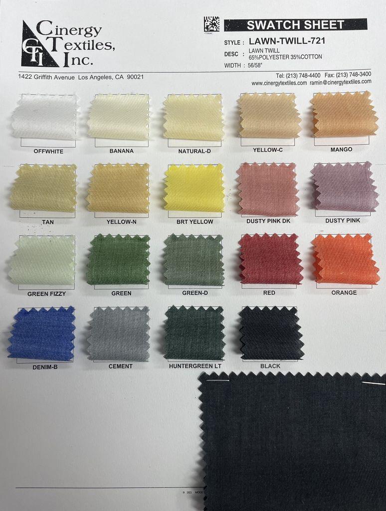 LAWN-TWILL-721 / Lawn Twill 65%Polyester 35%Cotton