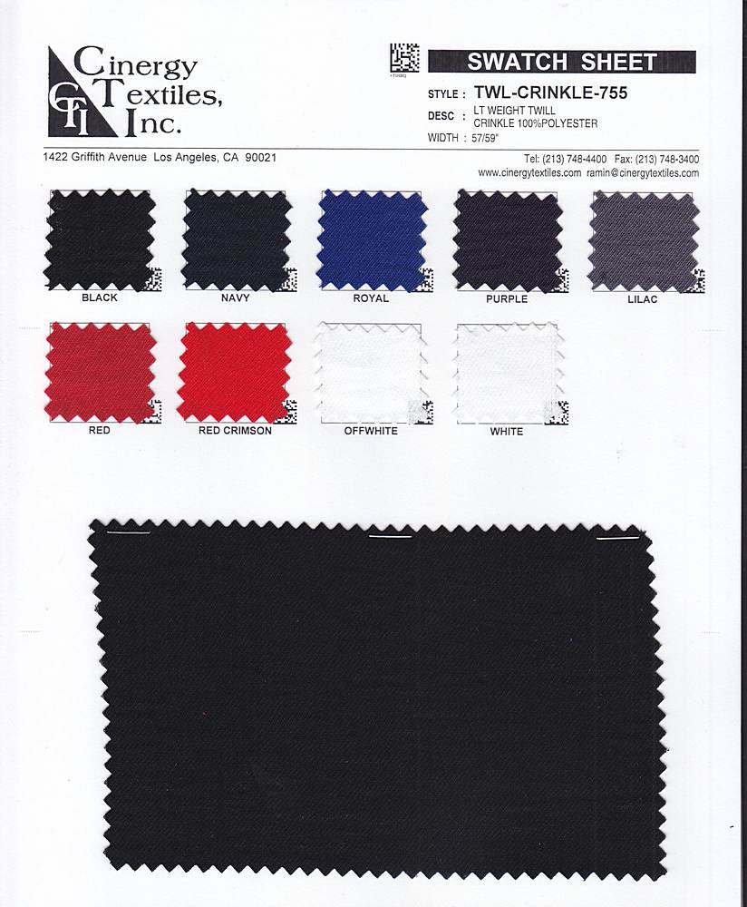TWL-CRINKLE-755 / LT WEIGHT Twill Crinkle 100%Polyester