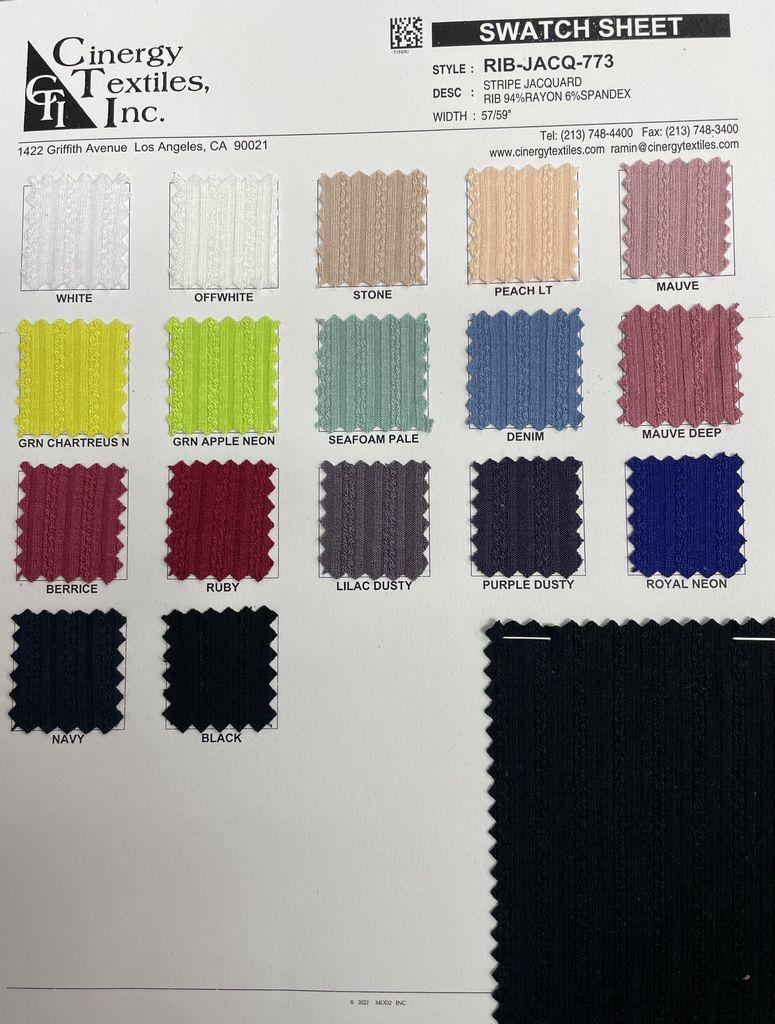 RIB-JACQ-773 / Stripe Jacquard Rib 94%Rayon 6%Spandex